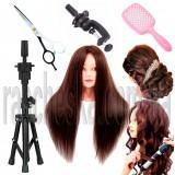 Голова с натуральными волосами в комплекте с парикмахерскими аксессуарами