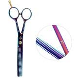 Ножницы для филировки волос ESTET 5.5 хамелеон с цветами